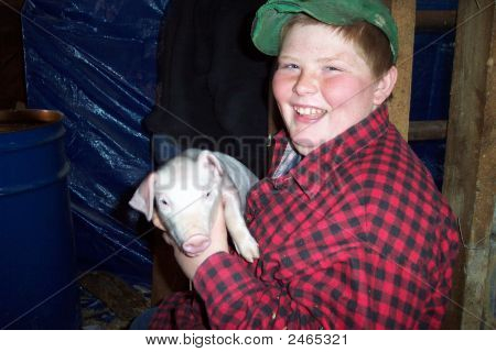 Boy And Piglet