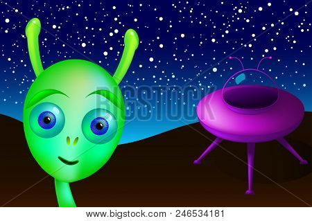 Little Green Alien With Purple Saucer Visits Earth. Green Man From Mars Landed In The Desert, Undisc