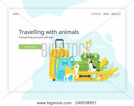 Vector Flat Style Illustration Of Travel Suitcases And Backpack With Dogs. Travelling With Animals L