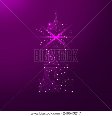 Lighthouse In The Form Of A Starry Sky Or Space, Consisting Of Points, Lines, And Shapes In The Form