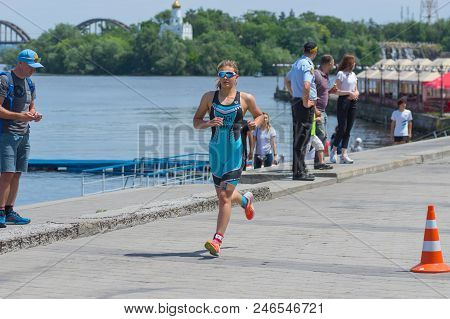 Dnipro, Ukraine - June 03, 2018:sofiia Tkach Competing At The Womens Race During Dnipro Etu Triathlo