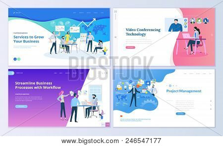Set Of Web Page Design Templates For Project Management, Business Communication, Workflow And Consul