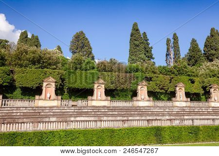 Boboli Gardens park primary axis amphitheater with  sculptures, Florence, Tuscany, Italy