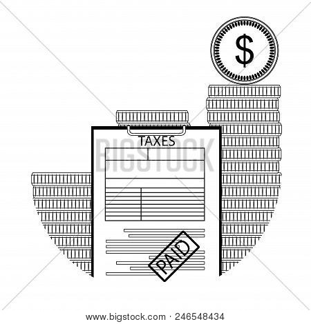 Tax Paid Line Art. Taxation Cash Declaration, Statement Earning Tax. Vector Illustration