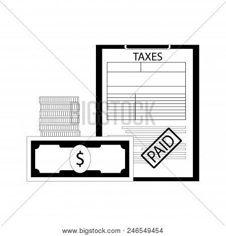 Taxes Paid Line Art Concept. Vector Declaration Tax, Revenue Treasure, Banking Statement Illustratio