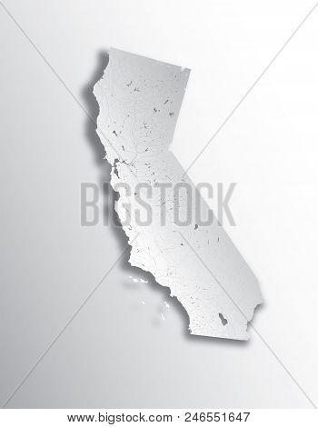 U.s. States - Map Of California With Paper Cut Effect. Hand Made. Rivers And Lakes Are Shown. Please