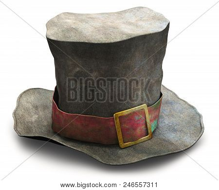 Creative Abstract 3d Render Illustration Of The Old Vintage Crumpled Beggar Cylinder Hat Isolated On