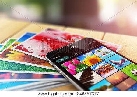 Creative Abstract 3d Render Illustration Of The Macro View Of Stack Of Color Photo Pictures And Smar