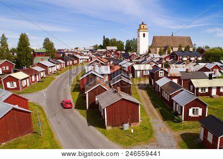 Gammelstad, Sweden - June 16, 2018: Aerial View Of The Gammelstad Church Town That Is An Unesco Worl