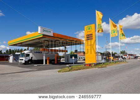 Skelleftea, Sweden - June 21, 2018: Preem Brand Gasoline Service Station Along The High-way Road Num
