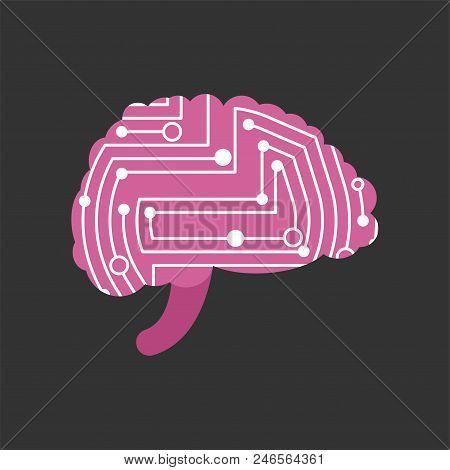 Digital Brain Printed Circuit. Brains Computer System. Technology Vector Illustration