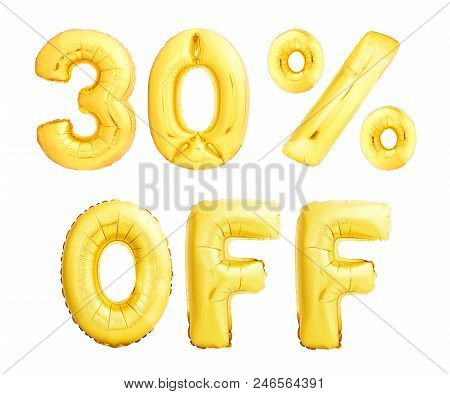 Thirty Percent Off Discount Sign Made Of Golden Inflatable Balloons Isolated On White Background. 30