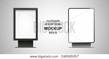 Blank Billboard Lightbox Mockup Isolated On Gradient Background. Vector Illustration. Black Metal Fr