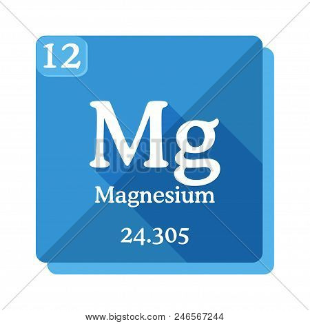 Magnesium Chemical Element. Periodic Table Of The Elements. Magnesium Icon On Blue Background. Vecto