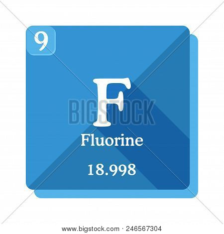 Fluorine Chemical Element. Periodic Table Of The Elements. Fluorine Icon On Blue Background. Vector