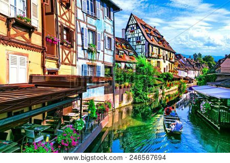 Most beautiful traditional villages of France - Colmar in Alsace with colorful half timbered houses