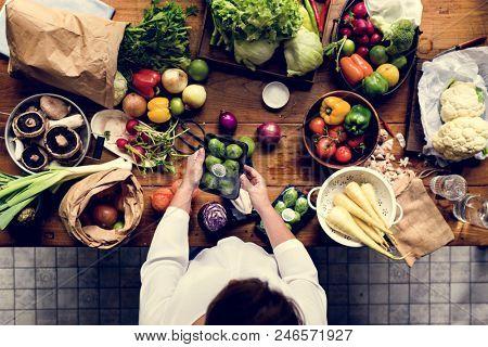 A person preparing vegetables