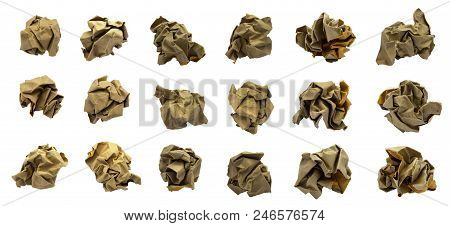 Brown Crumpled Paper Ball Set On A White Background, Isolated.