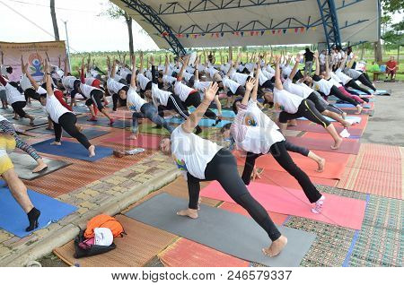 Khon Kaen, Thailand - June 24 2018 People Takes Part In A Mass Yoga Session To Mark 4Th Internationa