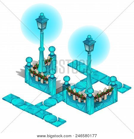 Icy Paths In The Park, Lampposts And A Wooden Fence Decorated For The Christmas Holiday Isolated On