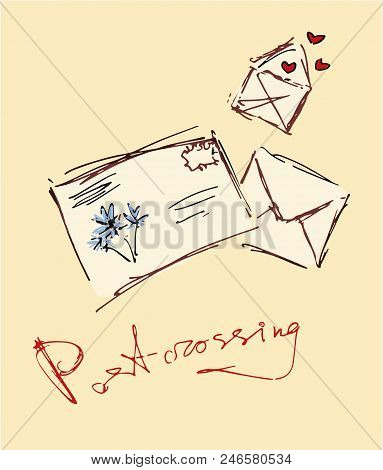 Postcrossing. Vector Illustration. Graphic Sketch. Envelopes And Lettering