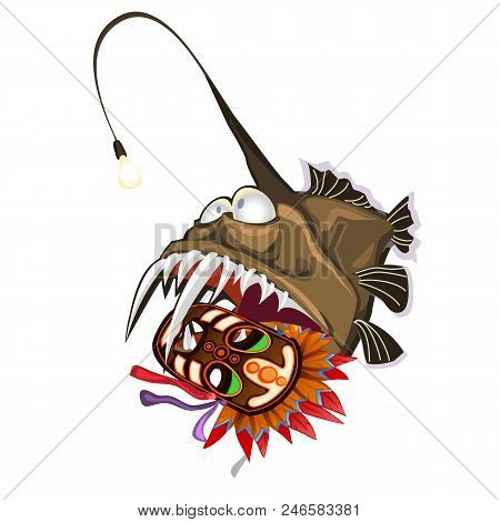 Fish An Angler Holds In The Teeth An Ancient Tribal Mask. Animals Of The Deep Sea Is Isolated On A W