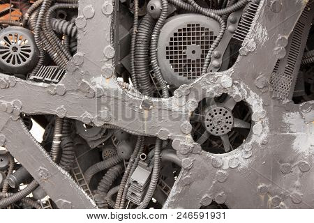Close Up View Old Electric Motor Elements. Abstract Industrial Background Pattern