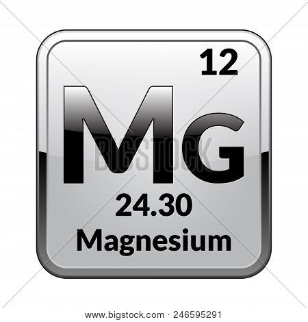 Magnesium Symbol.chemical Element Of The Periodic Table On A Glossy White Background In A Silver Fra