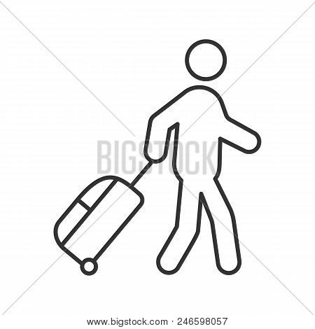Person With Baggage Linear Icon. Thin Line Illustration. Tourist, Traveler. Passenger. Contour Symbo