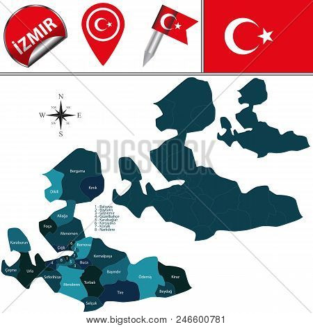 Vector Map Of Izmir, Turkey With Named Districts And Travel Icons