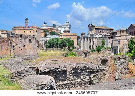 Rome, Italy. Ruins Of The Roman Forum In A Sunny Summer Day