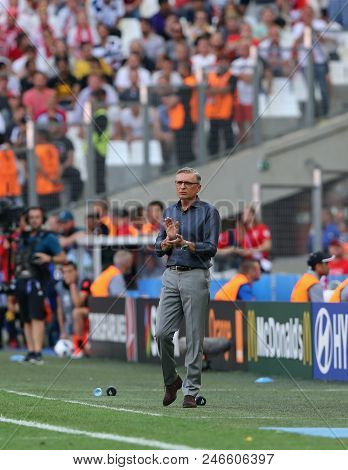 Marseille, France - June 21, 2016: Head Coach Of Poland National Football Team Adam Nawalka In Actio