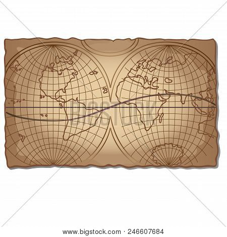 Vintage world map on the faded old piece of paper isolated on white background. Vector cartoon. poster