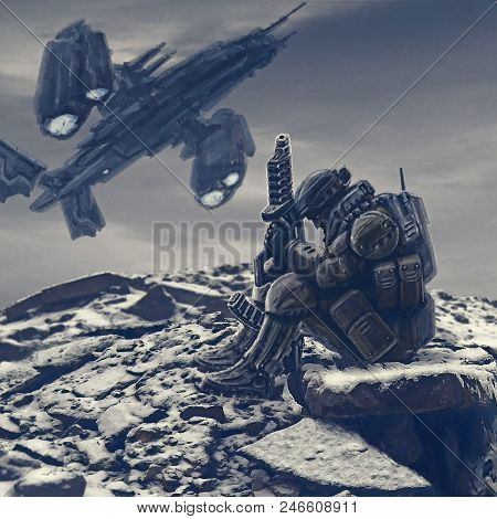 Soldier of the future awaits evacuation. Landing the spacecraft on alien planet. Landing spacecraft. poster