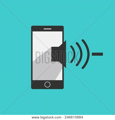 Volume Down Mobile Phone Icon Vector In Modern Flat Style For Web, Graphic And Mobile Design. Mobile