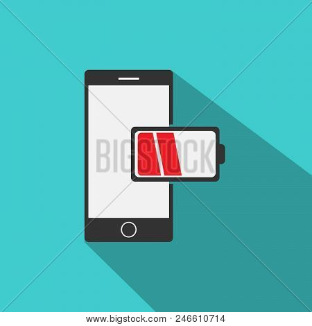 Low Battery Phone Colored Vector. Mobile Phone Icon Vector In Modern Flat Style For Web, Graphic And