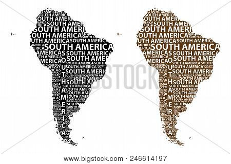 Sketch South America Letter Text Continent, South America Word - In The Shape Of The Continent, Map