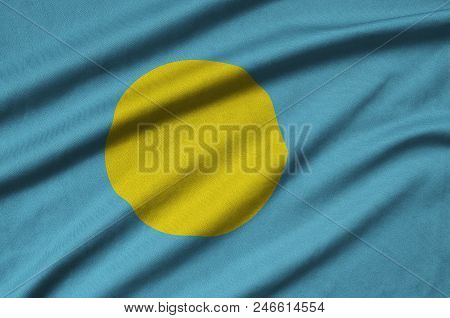 Palau flag  is depicted on a sports cloth fabric with many folds. Sport team waving banner poster