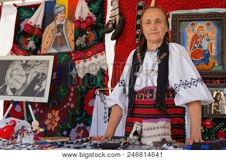Lyon, France, June 23, 2018 : Traditional Dress From Romania. The Fetes Consulaires Stand On Place B