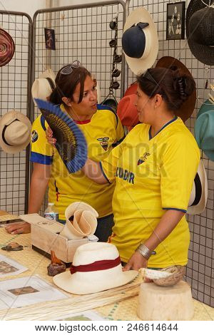 Lyon, France, June 23, 2018 : Hats From Ecuador. The Fetes Consulaires Stand On Place Bellecour Arou