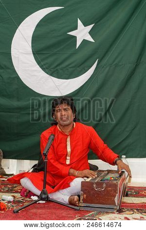Lyon, France, June 23, 2018 : Musician From Pakistan. The Fetes Consulaires Stand On Place Bellecour