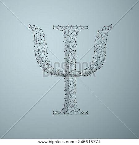 Low Poly Psi Symbol Consisting Of Points, Lines.