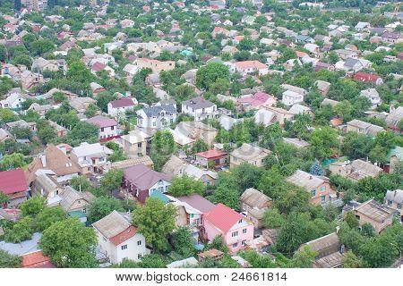 Vista aérea sobre as casas particulares