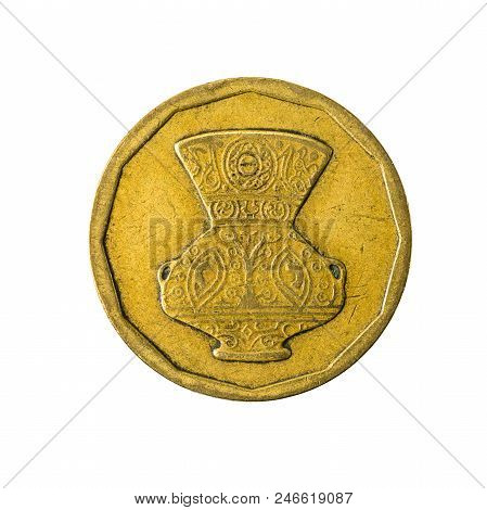 5 Egyptian Piastre Coin Reverse Isolated On White Background