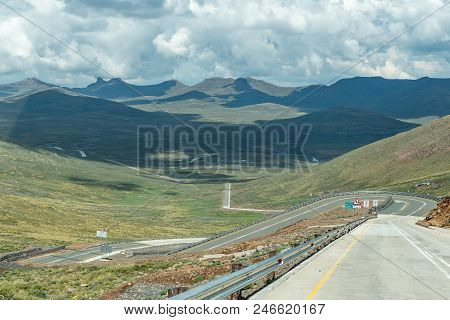 Black Mountain Pass In Lesotho. The Highest Point Of The Pass Is 3240 Meter Above Sea Level.
