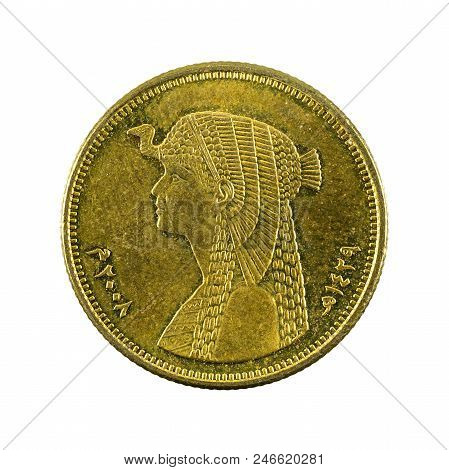 50 Egyptian Piastre Coin Reverse Isolated On White Background