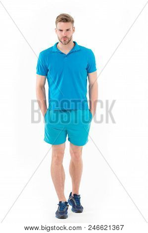 Man In Active Wear And Sneakers Isolated On White. Sportsman In Full Length. Fit And Confident. Spor