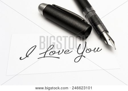 Close-up Of A Greeting Card With The Sweet Word, I Love You