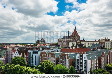 View To A Church And City Rostock, Germany.