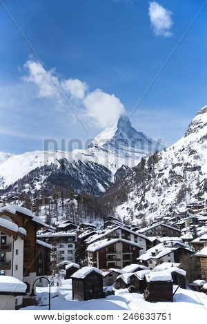Beautiful Village Of Zermatt With Matterhorn In The Background, Switzerland